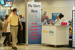 Airports are increasingly making flu shots available to busy fliers; this year about two dozen airports plan to offer the service.