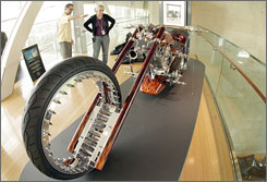 """""""Just as (Bill Clinton) defines the end of the 20th century, so does the chopper,"""" says  Clinton center director Terri Garner. The exhibit includes 30 handcrafted motorcycles."""