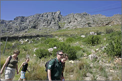 Tourists walk around the top of Table Mountain, Cape Town's iconic attraction.