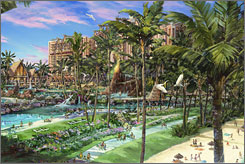 This artist's rendering shows Disney's first family resort in Hawaii, scheduled to open in 2011 on Oahu.