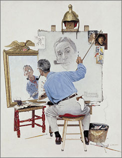 Triple Self Portrait: One of many magazine covers by Norman Rockwell that can be seen in Norfolk, Va.