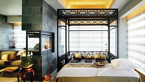 In New York: The VIP Spa Suite at the Mandarin Oriental offers ultimate relaxation, with massage beds and elevated bath.