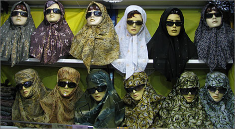 Traditional with a modern twist: A display of fashionable headscarves tempts shoppers at the bazaar in Mashhad, considered Iran's holiest city.