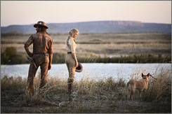 Serene setting: Hugh Jackman and Nicole Kidman enjoy a rare moment of tranquility in Australia.