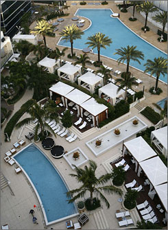 Cabana nirvana: The expanded pools at the Fontainebleau include cabanas renting for $250 a day.