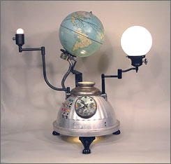 Randall Cleaver's Something Old/Something New, at Philadelphia International Airport, features about two dozen lighted and functioning clocks and lamps made from found and salvaged objects such as globes, gears, tins and toasters.