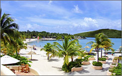 Pay for it with stocks: That's the offer at St. James's Club Resort and Villas on the island of Antigua.
