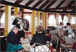 Accordion player Tim Eriksen has been entertaining diners at Sun Valley's Roundhouse lodge for over 50 years.