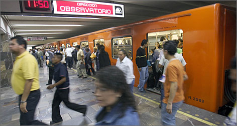 Mexico City's  subway offers relatively safe transportation for less than 20 cents. During rush hour, women can head to the front for the all-female cars.