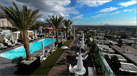 Steps from Sunset Strip: The London West Hollywood, redone as a sleek all-suites hotel, features a Gordon Ramsay restaurant and stylish rooftop pool area, complete with fire pit, cabanas and sweeping views.