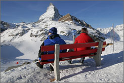 """There's no panic about the financial crisis, but there's concern of course. You think about it when you read the news everyday,"" says Daniel Luggen, head of tourism in Zermatt, Switzerland, which sits below the Matterhorn peak."