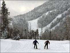 Skiers head for a trail at Gore Mountain Ski Resort in North Creek, N.Y. Upstate New York ski areas could see more visitors this year, with more skiers staying closer to home.