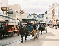 In Michigan: There are no cars allowed on rural, relaxed Mackinac Island, so you'll have to hail a horse-drawn carriage, walk or bike to get around.