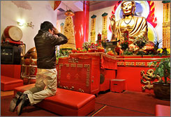 January is a busy month at the Mahayana Buddhist Temple, as people seek good luck and protection for the new year.