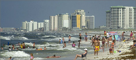 Diverse mix by the sea: Condos line the shore of Destin on the Emerald Coast.