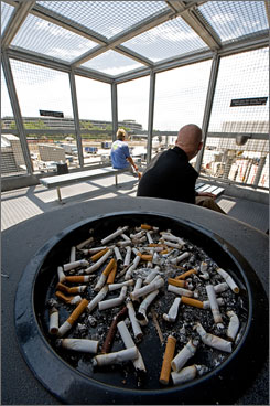 Tampa International Airport has a series of caged outdoor patios for smokers, complete with benches, ashtrays and electric lighters.