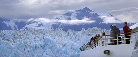 Passengers on Royal Caribbean's Radiance of the Seas view Hubbard Glacier in Alaska.