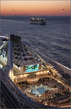 On Princess Cruises, giant poolside screens show feature films, concerts and even telecasts of events, from the Super Bowl to the Oscars.