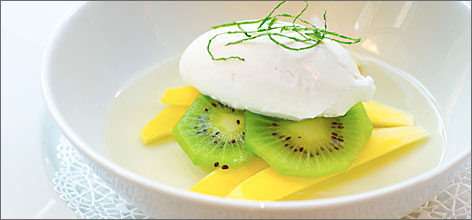 Tropical treat: Finish your meal with Muscadine Wine Jello, tropical fruits and sweet cream at MiLa.