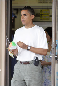 Local treat: Barack Obama leaves Kokonuts Shave Ice and Snacks on Dec. 26.
