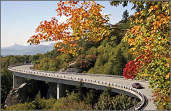 A car travels on the Blue Ridge Parkway near Grandfather Mountain in Linville, N.C.