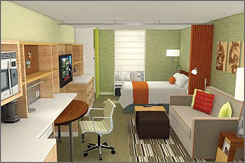 A computer rendering of a guest room in a Home2 Suites hotel, Hilton's new budget, extended-stay brand.