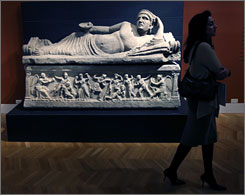 An Etruscan sarcophagus is one of several hundred objects in &quot;From the Temple and the Tomb,&quot; the most comprehensive exhibition of Etruscan art ever shown in the U.S.