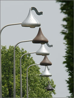 Streetlights are modeled after  Hershey's Kisses chocolate candy in Hershey, Pa.