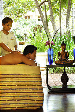 Spas on sale: Cambodia's Raffles Grand Hotel d'Angkor is offering 50% off a second massage.