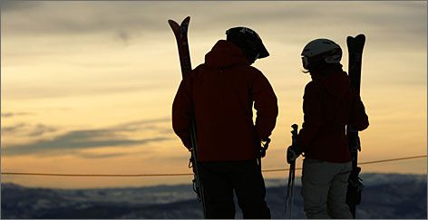 Dawn at Snowbird: Cortney Anderson, left, and Laura Schaffer take in the view before hitting the slopes.
