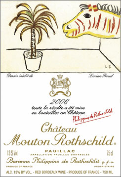 A wine label designed by British artist Lucian Freud. The Chateau Mouton Rothschild winery has commissioned an artist to create a label for each vintage since 1945.