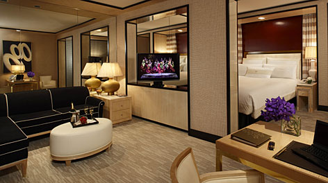 King suite: The open divider holds a high-definition TV, viewable from the bed or living area.