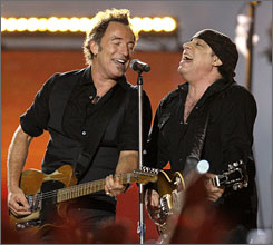Bruce Springsteen and bandmate Steven Van Zandt perform during the 2009 Super Bowl. 1999 inductee Springsteen will be the subject of an exhibit at the Rock and Roll Hall of Fame in Cleveland.