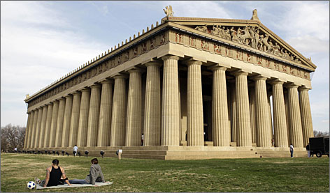 Nashville's Parthenon is the center of many activities, including craft fairs, musical entertainment, and art shows.