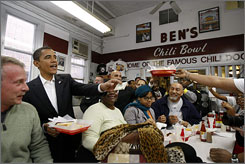 Then-President-elect Obama visited Ben's Chili Bowl on U Street in January.