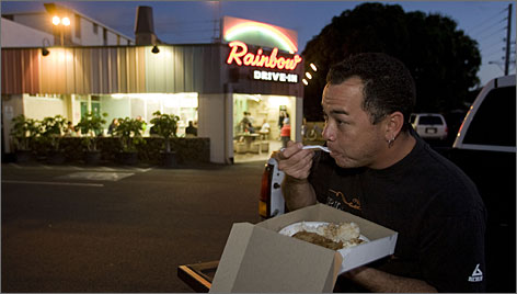 The Rainbow Drive-In is popular with hungry surfers and locals looking for a quick, hearty and affordable meal.