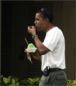 Obama ordered the small lemon-lime and cherry shave ice at Kokonuts.