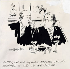 Funny Money: Wm. Hamilton cartoon, published 1979. Original drawings from the New Yorker are currently on display at New York's Morgan Library and Museum.