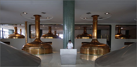 The Pilsner Urquell factory in Pilsen, Czech Republic, is a marvel of modern brewing, operating 24 hours a day and churning out 120,000 bottles of beer per hour.