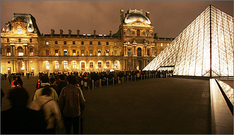 "The first ""Night of the Museums"": People line up at the Louvre in Paris in May 2005, when museums across Europe stayed open free into the early hours."