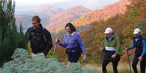Getting residents motivated: Guided group hikes in the North Carolina's Blue Ridge Mountains are among the activities offered at The Cliffs Communities.