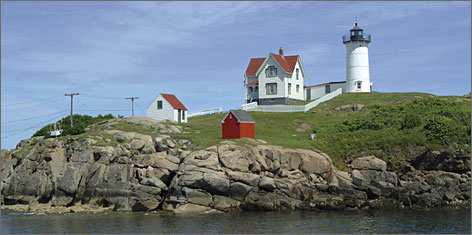 "At York's Cape Neddick: Southern Maine is famous for its rocky waterfront dotted with lighthouses like this one, called ""the Nubble"" because it sits on a nub of land."