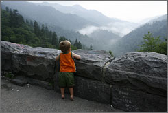 "From Morton Overlook: Austin Stefanowicz, 20 months, gazes out over haze-shrouded hills. The Cherokee called the mountains ""place of the blue smoke."""