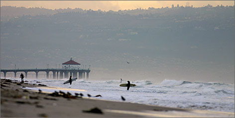 Riding the waves of fame: Surfing put the South Bay on the map, but all of the region's &quot;beach cities&quot; also have broad beaches and piers, like this one at Hermosa Beach.