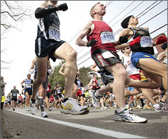 """The granddaddy of all marathons"": The first wave of runners in the 113th Boston Marathon make their way down the course April 20."