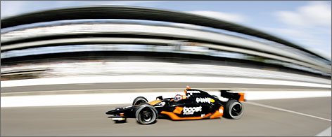 In Indianapolis: Danica Patrick takes a practice run before Pole Day qualifications at the Indianapolis Motor Speedway, which Patrick calls the No. 1 track.
