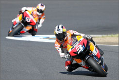 In Motegi, Japan: Dani Pedrosa of Spain leads Andrea Dovizioso on the Twin Ring at April's MotoGP World Championship Grand Prix of Japan.