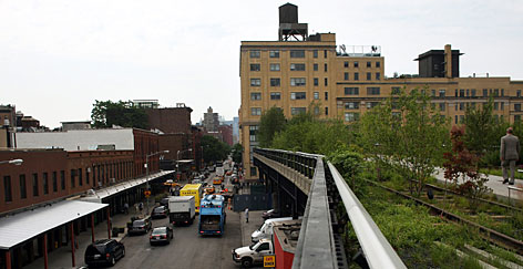 The High Line, a new park converted from an abandoned elevated rail track, stretches 1.5 miles along Manhattan's West Side offering dazzling views of the city and the Hudson river.