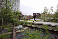 High Line park designers were able to incorporate the original train tracks into some of the landscaping, as well as preserve natural wildflowers and other plant life that had taken over the abandoned line.