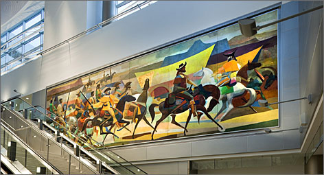 The two 6-ton murals were cut into panels about eight feet long, then shipped first to a New York warehouse for restoration and then to Miami International Airport for installation in the new terminal.